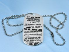 best gift to my son from DAD, custom son dog tag pendant necklace, Сustom Men's Holiday gifts for him, best gift idea, Gifts & Mementos 10 Metal Necklaces, Handmade Necklaces, Men Necklace, Dog Tag Necklace, Son Poems, Cute Box, Hand Stamped Necklace, Gifts For Him, Dog Tags