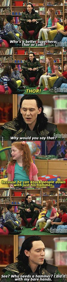 Loki all the way! Loki Funny, Marvel Funny, Funny Quotes, Funny Memes, Funny Things, Random, Gifs, Canning, Funny Pictures