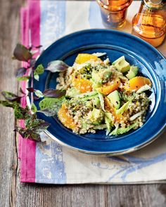 Orange Avocado Salad with Quinoa Quinoa Salad, Cobb Salad, Avocado Salat, Orange, Going Vegan, Potato Salad, Good Food, Healthy, Ethnic Recipes