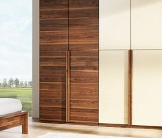 High-end luxury modern walnut and glass wardrobe Wardrobe Design, Closet Designs, Wood Wardrobe, Bedroom Furniture Design, Walnut Bedroom Furniture, Door Design, Shutter Designs, Cupboard Design, Sliding Door Design