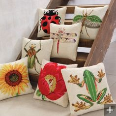 Insect Throw Pillows $40 each - for the playroom??