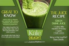 The Kale Delight.  Who loves Kale here? We all do! Try making this juice and let's cheers to a healthy life! #celery #parsley #apple #kale