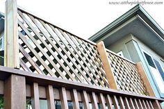 how to add privacy to a deck wood lattice screen, outdoor living, woodworking projects, Support boards in the back attach the lattice to the deck railing