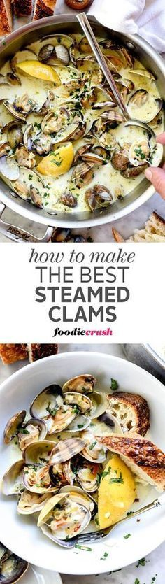 Small, sweet clams are cooked in a garlicky white wine and cream sauce to create the best sauce for sourdough bread dipping | http://foodiecrush.com #clams #appetizer