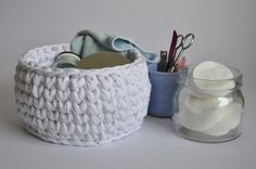Crochet bathroom storage basket. Ideal for storage cosmetic or as a desk organizer. Beautiful baby shower gift or spring, white home decor item. Thats