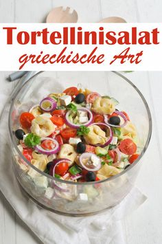 Art Tortellini salad Greek style pasta salad party salad for grilling buffet vegetarian vegan possible And DrinkTortellinisalat Griechische Art Tortellini salad Greek sty. Party Salads, Quinoa Salad Recipes, Greek Salad, Greek Recipes, Holiday Recipes, Party Recipes, Breakfast Recipes, Easy Meals, Food And Drink