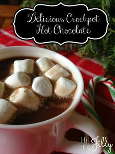 This Delicious Crockpot Hot Chocolate from Hi! It's Jilly would be perfect on a cold, winter day or at a holiday party!