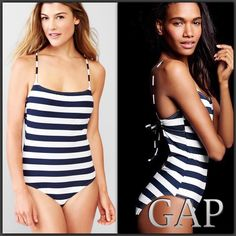"""NWT Gap Convertible One Piece, Two style  Fit  Amazing Gap convertible one piece, two style flattering fit. This suit is super flattering and fun to wear. Size Medium fits size 6-8, bust size 35.5"""" to 37"""". Lined cups medium rise on legs GAP Swim One Pieces"""