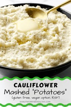 Mashed cauliflower gives you a low carb, low calorie, high nutrient alternative to mashed potatoes with the same smooth consistency everyone will love. Quick Easy Healthy Meals, Healthy Gluten Free Recipes, Healthy Comfort Food, Sugar Free Recipes, Diabetic Recipes, Keto Recipes, Fall Recipes, Dinner Recipes, My Favorite Food