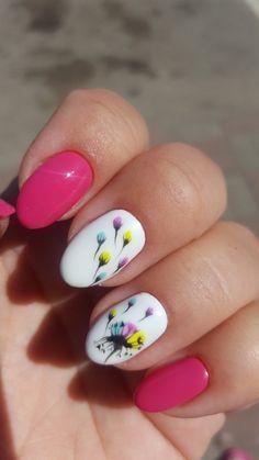 Acrylic Nails Coffin Pink, Simple Acrylic Nails, Pastel Nails, Spring Nail Art, Spring Nails, Summer Nails, Cute Nail Art Designs, Colorful Nail Designs, Gel Nail Art