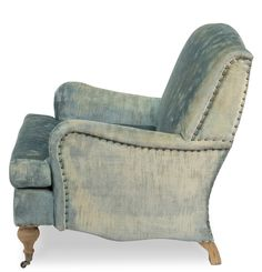 English Roll Arm Chair Vintage Blue Velvet