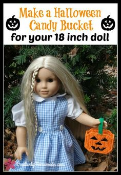 This AG doll Halloween Candy Bucket will make any little American Girl doll fan happy this Halloween. Click here to see the free plastic canvas pattern.
