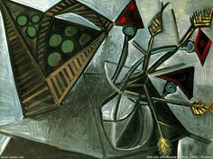 World famous paintings : Pablo Picasso Paintings  - Picasso Paintings : Still Life With Basket Of Fruit, 1942  7 Pablo Picasso, Picasso Cubism, Picasso Paintings, Picasso Drawing, Oil Paintings, Picasso Still Life, Still Life Art, World Famous Paintings, Cubist Movement