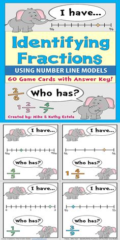 There are sixty (60) I Have...Who Has? game cards in this set that can help your students review or practice how to identify or write fractions using number line models. Most fractions involved are proper fractions with some mixed numbers thrown in the mix. You can also follow along and verify their answers using the answer key provided. $