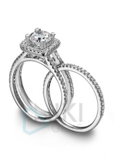 925 Sterling silver CZ Wedding band sets Solitaire ring wedding band sets Engagement ring Wedding band Sets  Halo wedding band sets  For More Designs Visit on www.nikigems.com