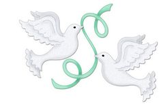 Nip Doves With Ribbons 4x4 Cottage Cutz Die Cc4x4-502 Pretty