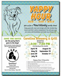 We hope you'll bring your pooches and your family to Yappy Hour tonight at Carolina Brewery! We'll be enjoying the gorgeous weather out on the patio. This is a fun event for your dogs and you, and it's for a great cause. Your support ensures that we can continue our foster care programs, as well as our community education and spay/neuter programs. Thank you!!
