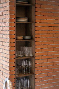 벽돌 틈에 자리한 합판 가구 Bookcase, Shelves, Furniture, Home Decor, Shelving, Decoration Home, Room Decor, Bookcases, Shelf