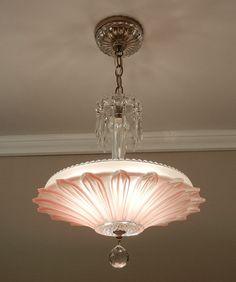 Vintage Art Deco Antique SUNFLOWER Petal Rose/Pink Glass Ceiling Light Chandelier Rewired