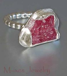 ❤ M-inim Series, Ruby and Sterling Silver Ring