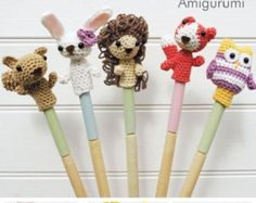 Items similar to Set of 2 Amigurumi Finger Puppets, Animals Crochet Finger Puppets, Crochet Toys on Etsy