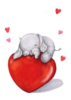 Love You Valentine's Day, Elephant Sleeping On Big Heart card. Personalize any greeting card for no additional cost! Cards are shipped the Next Business Day. Happy Elephant, Elephant Love, Animals Beautiful, Cute Animals, Panda Illustration, Fairy Wallpaper, Cute Animal Drawings, Elephant Tattoos, Cute Dogs And Puppies