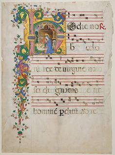 Manuscript Leaf with the Nativity in an Initial H, from an Antiphonary Master of the Riccardiana Lactantius Date: second half 15th century