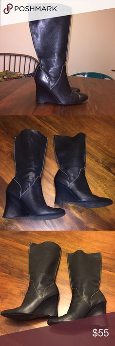 "Calvin Klein Buttery Soft Leather Pull On Boot Lovely black leather pull on boot by Calvin Klein. Wedge 3"" heel, round toe. Cream tonal stitching. Looks great with leggings, jeans, and dresses! Size 7. Calvin Klein Shoes Heeled Boots"