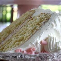 Cream Cake ~This is a delicate white cake. Heavy cream is used instead of butter.