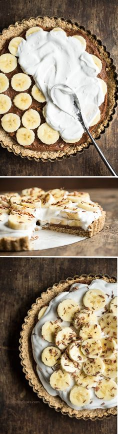 Banoffee Pie from My New Roots — Oh She Glows (Vegan, gluten-free, refined sugar-free, soy-free) Desserts Végétaliens, Gluten Free Desserts, Healthy Desserts, Delicious Desserts, Yummy Food, Healthy Foods, Sweet Recipes, Raw Food Recipes, Pie Recipes