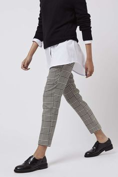 Check Print Cigarette Trousers - Topshop