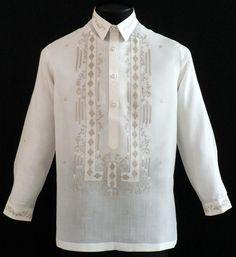 Piña-Jusi Barong Tagalog - - Barongs R us Barong Wedding, Barong Tagalog, Filipiniana Dress, Moss Stitch, Line Shopping, Sewing Material, Pinoy, Knit Patterns, Cool Shirts