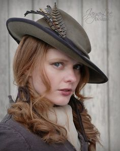 Asymmetrical Wide-brim Rustic Feather Fedora Hat byJaya Lee Designs