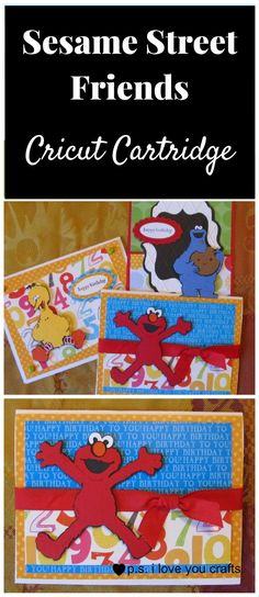 Sesame Street Friends Cricut Cartridge - P. I Love You Crafts Birthday Scrapbook, Scrapbook Rooms, Scrapbooking, Disney Scrapbook, Scrapbook Layouts, Card Making Tutorials, Card Making Techniques, Handmade Birthday Cards, Handmade Cards