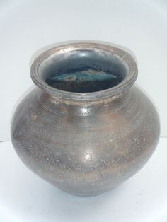 Old Original Antique Engraved Hand Crafted Brass Water Pot Lota India Rare #900