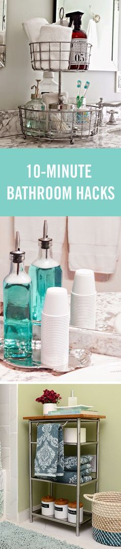 How is it that the bathroom always turns into a mess of toothbrushes on the counter, hair products all over, and towels on the floor? It really shouldn't be so hard to keep this small room clean and organized, so we rounded up some quick hacks to make your bathroom a better place — from under the sink organization to DIY over the sink storage.