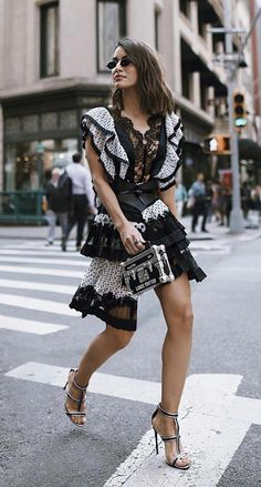3e745c5b14c08 Ruffles and lace with polka dots and monochrome. A perfect high street  fashion 💖. #streetfashion