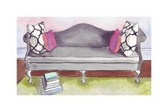 Watercolor Painting - Black Sofa with PIllows and Books, Watercolor Art Print, 11x14