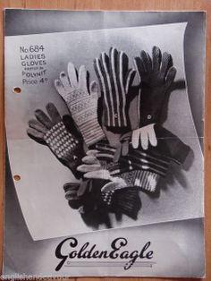 Golden Eagle 684 3Ply Ladies Gloves - Vintage Knitting Pattern