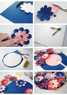 Une jolie carte façon bouquet de fleurs à faire vous-même pour la fête des mères ♡  http://www.moukita.com/diy-carte-de-fete-des-meres-facon-bouquet-de-fleurs/ Moukita