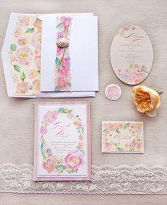 Artful Watercolor Rose Wedding Invitations on Green Wedding Shoes #watercolor #roseweddinginvitations #handpainted #weddinginvitations