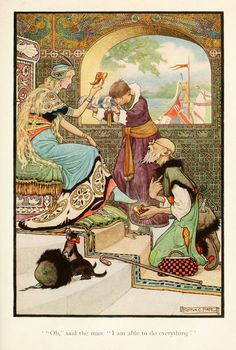 """""""Oh"""" said the man """"I am able to do everything"""" by Frank Cheyne Pape Russian Fairy tales 1916"""