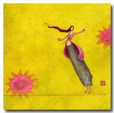 CARTES D'ART > BOISSONNARD Gaëlle > CARTES SIMPLES 14x14cm > BOISSONNARD La jongleuse de bulles - e-mages - La carterie d art