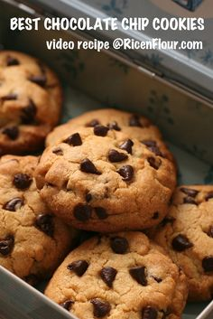 My best chocolate chip cookie recipe: crispy and crunchy outside while moist, soft, buttery, and tender inside. Recipe with video