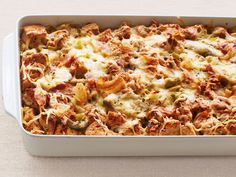 Make Ahead Leek and Artichoke savory Bread Pudding recipe from Ina Garten via Food Network - great for holidays & entertaining