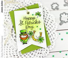 Top 'o the mornin' to you! I hope you're having a great day! A new challenge begins today at Tag You're It and I sure hope you'll join us. Copic Marker Refills, St Patricks Day Cards, Pretty Pink Posh, Lucky Horseshoe, Good Luck To You, Spring Green, Distress Ink, Leprechaun, Irish
