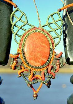 Macrame necklace with orange jasper gemstone