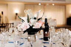Custom centerpiece by Alwaysadornable Flowers Wine, Silk Flowers, Wedding Themes, Wedding Events, Weddings, Wedding Table, Gold Wedding, Bride Bouquets, Bouquet Wedding