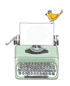 Typewriter portable and yellow bird hand drawn vector Premium Vector Gestion Administration, 4 Image, Photo Collage Template, Aesthetic Stickers, Note Paper, Bullet Journal Inspiration, Art Plastique, Cute Wallpapers, Planner Stickers