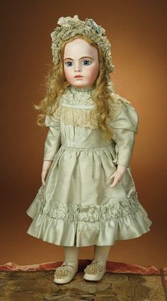 Bread and Roses - Auction - July 26, 2016: 437 Beautiful French Bisque Bebe by Leon Casimir Bru, Splendid Eyes and Signed Bru Shoes